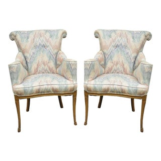 Vintage French Hollywood Regency Rolled Fireside Parlor Lounge Arm Chairs - a Pair