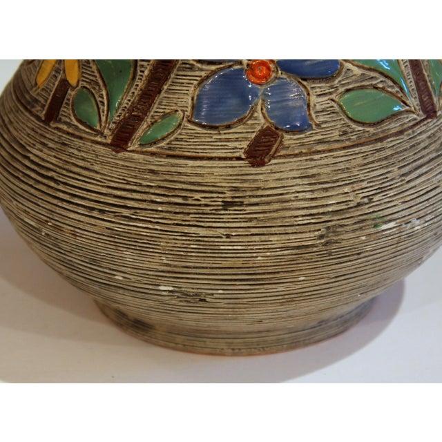 Ceramic Vintage Italian Art Pottery Textured Incised Blossom Raymor Vase For Sale - Image 7 of 10