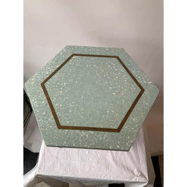 Harvey Probber 1950s Harvey Probber Blue Terrazzo Tripod Side Table For Sale - Image 4 of 9