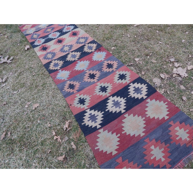 "Vintage Muted Orange Turkish Kilim Runner Rug 2'6"" X 9'4"" For Sale - Image 9 of 13"