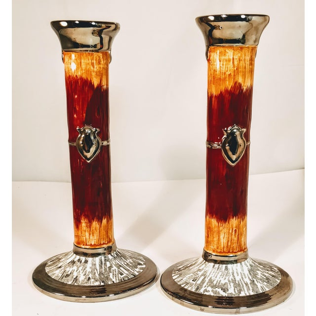 Metal Vintage Haldon Candlesticks Pottery Faux Wood Silver Crest Candle Holder -a Pair For Sale - Image 7 of 7