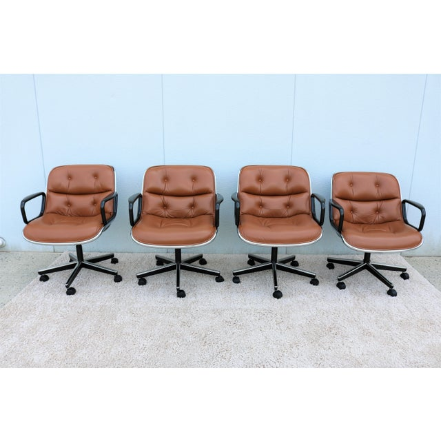 1980s Brown Leather Knoll Pollock Executive Chair For Sale - Image 5 of 13