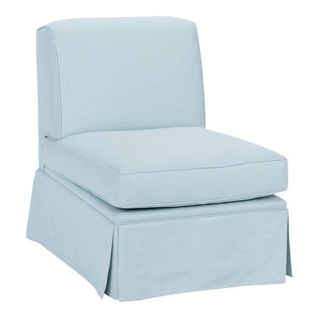 Wood Skirted Slipper Chair in Porcelain Blue Linen For Sale - Image 7 of 7