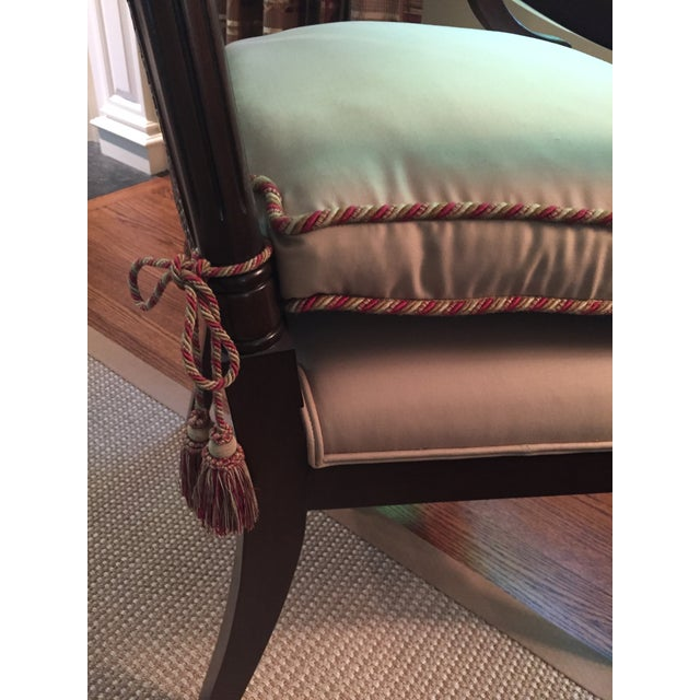 Wood Cane Backed Side Chair With Custom Cushion For Sale - Image 7 of 9