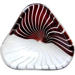 Dino Martens Aureliano Toso Murano Black White Italian Art Glass Dish Bowl For Sale