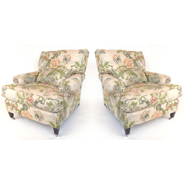 Overscale Pair of Chinoiserie Upholstered Club Chairs With Down Cushions For Sale - Image 12 of 12