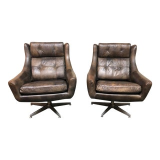 Restoration Hardware Motorcity Leather Swivel Chairs - a Pair
