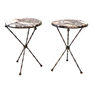1940s Contemporary Brass Faux Bamboo and Marble Top Side Tables - a Pair For Sale