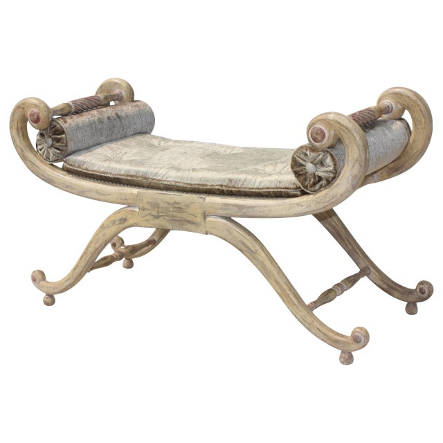 1940s French Scroll Arm Bench For Sale