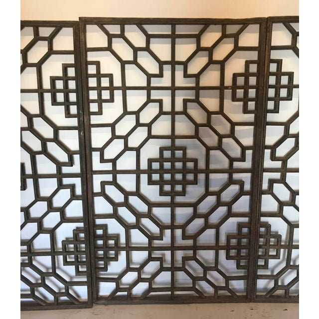 Wood Set of Four 19th Century Japanese Lattice Wooden Panels For Sale - Image 7 of 13