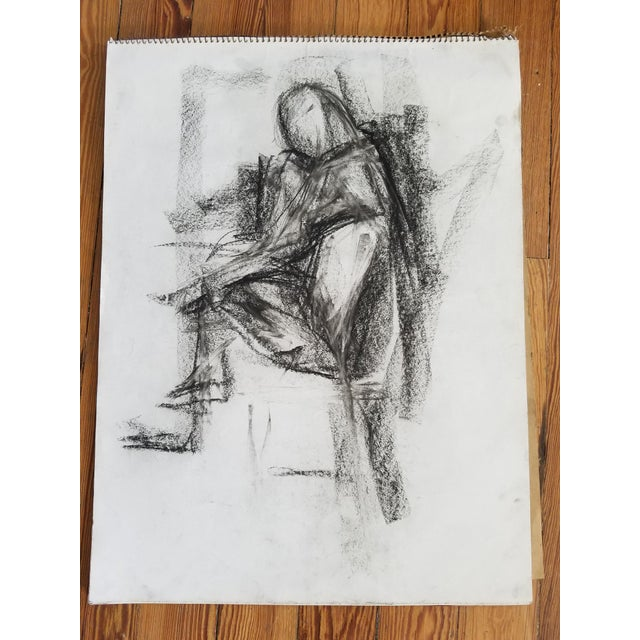 Figurative Abstract Sitting Figure Drawing For Sale - Image 3 of 3