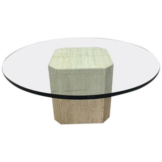 Italian Travertine and Glass-Top Coffee Table For Sale