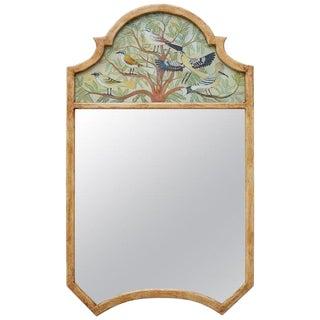 Chinoiserie Style Reverse Painted Trumeau Mirror For Sale