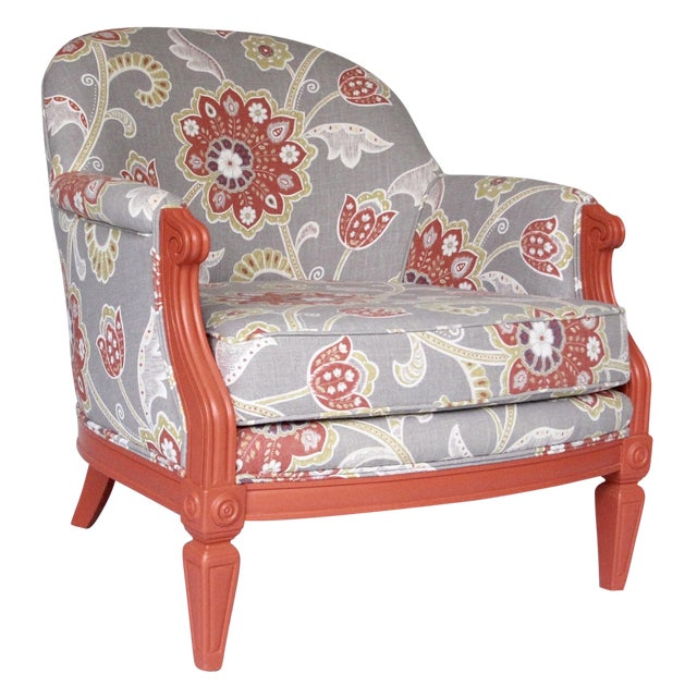 Coral & Floral Upholstered Chair - Image 1 of 4