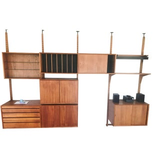 1960s Vintage Danish Cado Teak Modular Room Divider / Shelving Wall Unit For Sale