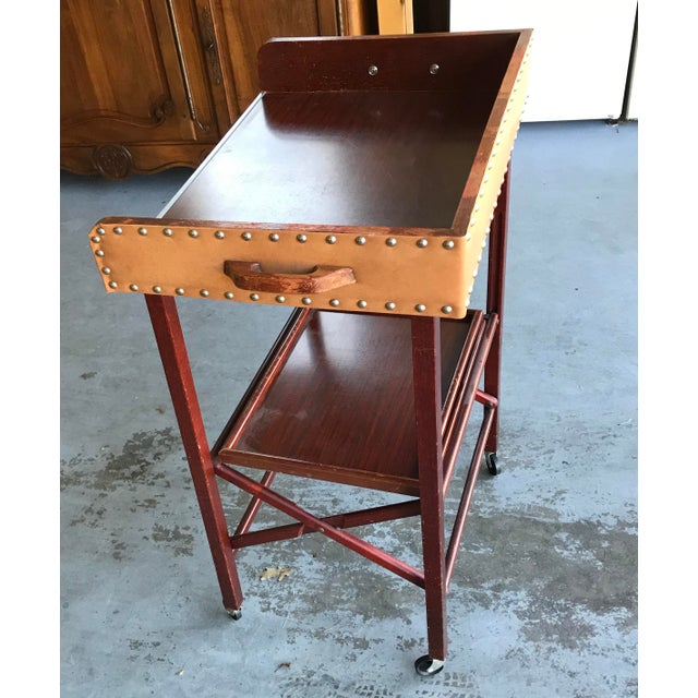 1950's Vintage Portable Bar Server Collapsible Rolling Bar Cart For Sale - Image 10 of 11
