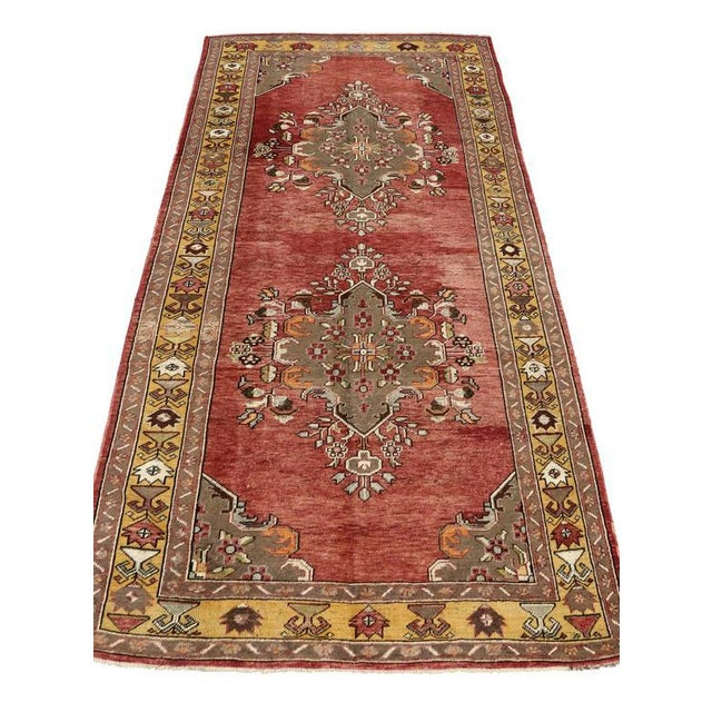 73888 Vintage Turkish Oushak Gallery Rug, Wide Hallway Runner. Time-softened shades of brick red, scarlet, taupe, olive...