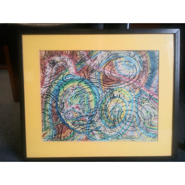 Vintage Unique Patterned Style Original Abstract Colorful Painting For Sale - Image 4 of 6