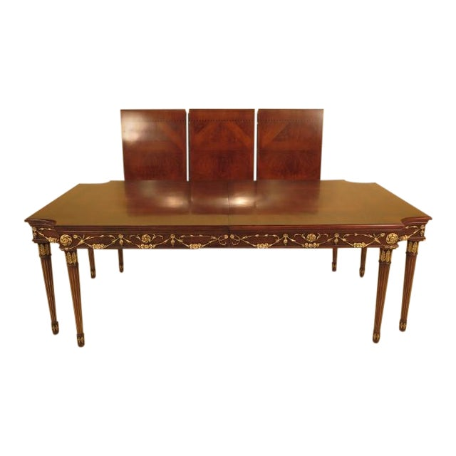 EJ Victor Regency Walnut 8-Leg Dining Room Table For Sale