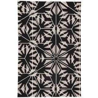 Jaipur Living Haige Indoor/ Outdoor Geometric Black/ Gray Area Rug - 5′ × 7′6″ For Sale