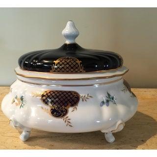 Vintage Weimar Porsellen Echt Kobalt Footed Dish With Lid Preview