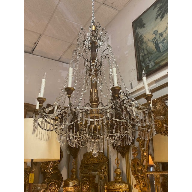19th C. Italian Antique Element Carved Wood, Iron and Crystal Chandelier For Sale In Los Angeles - Image 6 of 13