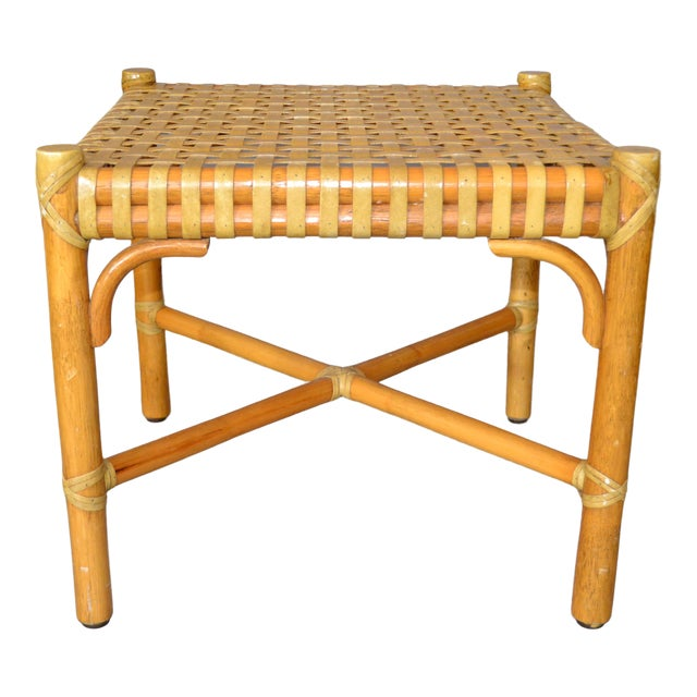 McGuire Mid-Century Modern Bamboo and Hand-Woven Leather Top Side Table / Stool For Sale