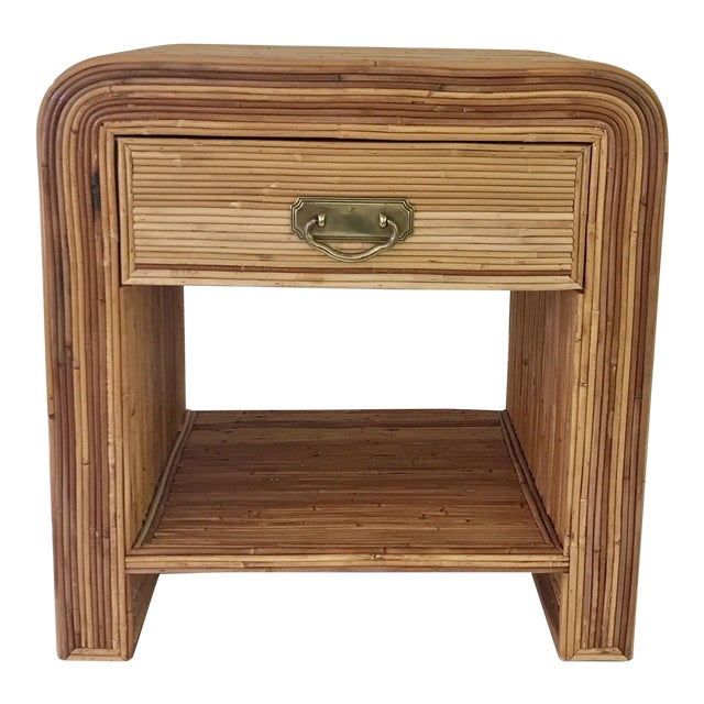 Italian Gabriella Crespi Style Pencil Reed Nightstand For Sale