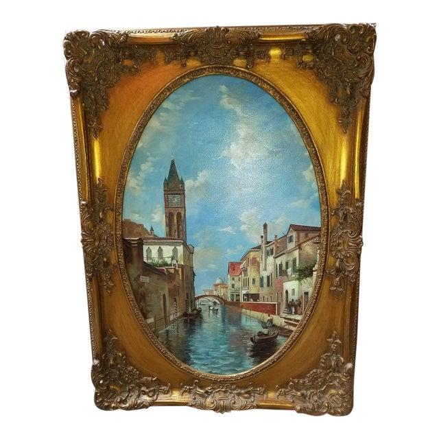 Oil on Canvas of Venetian Scene in Ornate Giltwood Frame For Sale