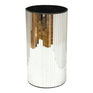 Modern Mirror-Faceted Umbrella Stand Or Dust Bin For Sale