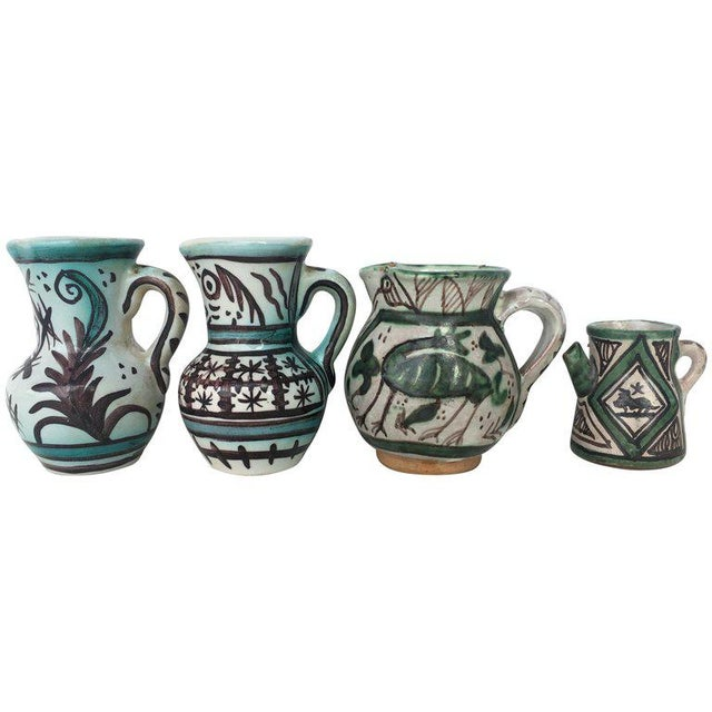 19th Set of Four Glazed Terrracota Vases , Urns, Pitchers in Green & White For Sale - Image 12 of 12