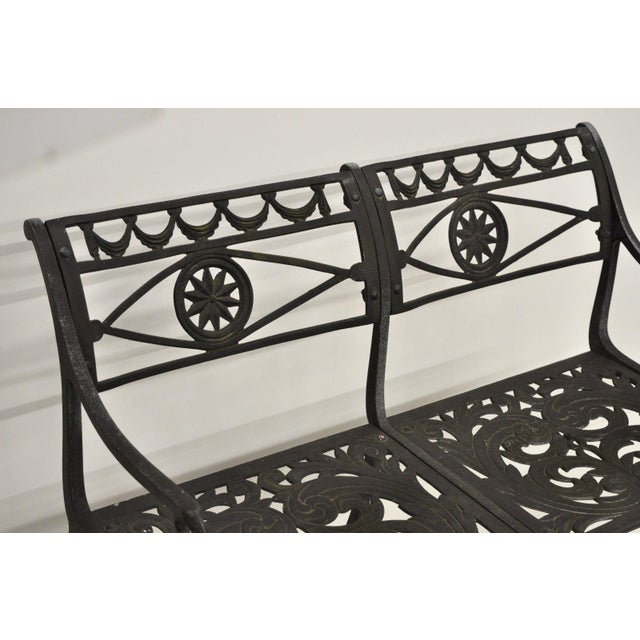 Mid 20th Century 20th Century Neoclassical Style Dolphin Patio Double Settee For Sale - Image 5 of 13