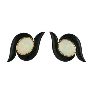 14k Gold Opal and Onyx Pierced Post Earrings For Sale