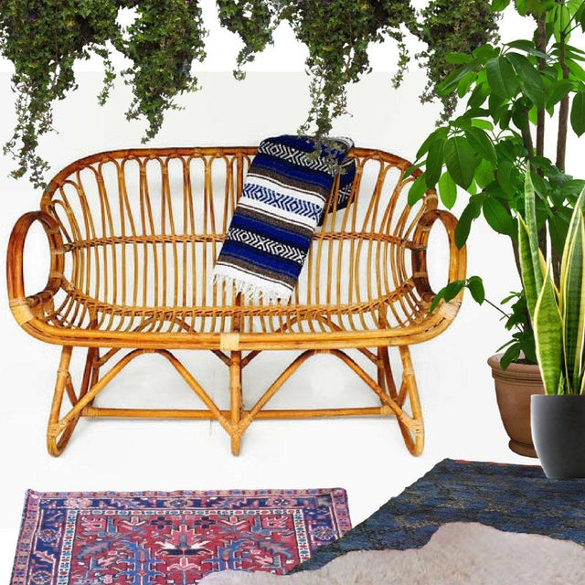 Bamboo Vintage Sculptural Bamboo Settee Franco Albini Style Love Seat For Sale - Image 7 of 7