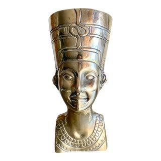 1970s Brass Egyptian Revival Nefertiti Bust For Sale