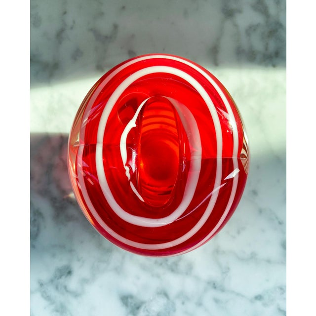1960s Murano Red and White Striped Heart Vase For Sale In Providence - Image 6 of 7
