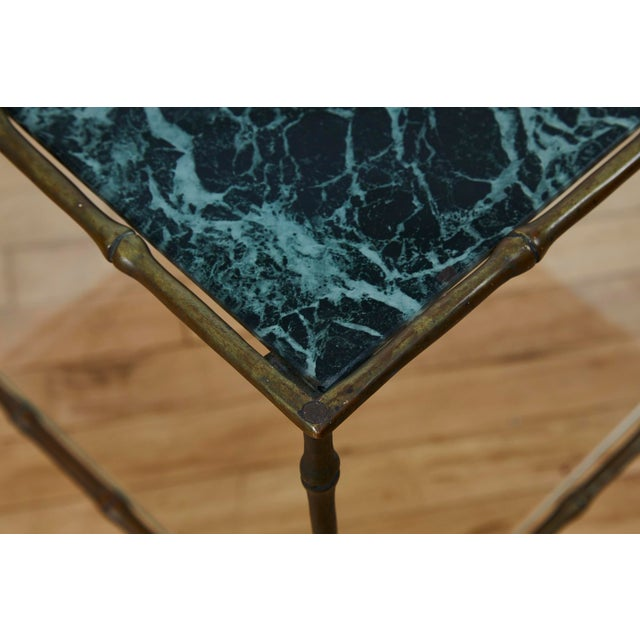 Vintage Maison Bauges Style Two-Tier Faux Bamboo Side Table For Sale - Image 10 of 13