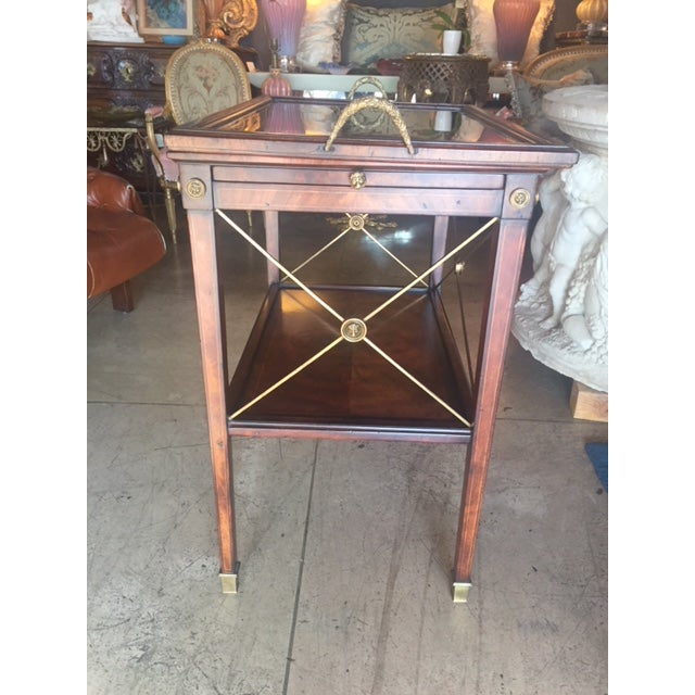 Gold Drinks Cart Tea Table With Removable Tray Top For Sale - Image 8 of 9