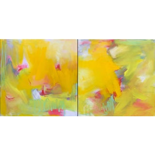 """Up and Away"" by Trixie Pitts Large Abstract Diptych Oil Painting For Sale"