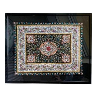 Beadwork and Stone Fabric Panel For Sale
