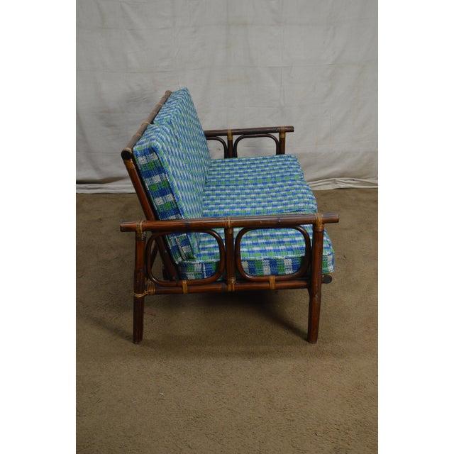 B Ficks Reed Vintage Rattan Bamboo Frame Sofa