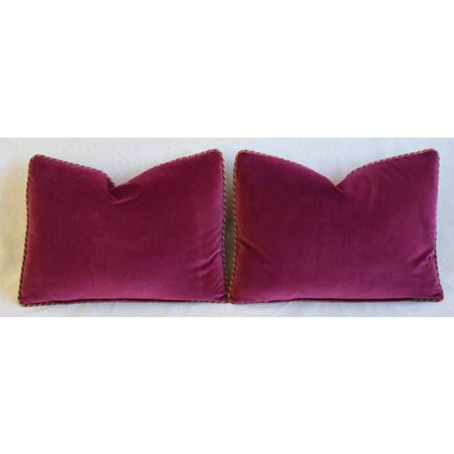 """Designer Raoul Hand-Printed Linen & Velvet Feather/Down Pillows 23"""" X 17"""" - Pair For Sale - Image 10 of 13"""