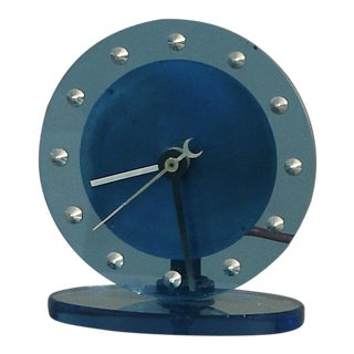 1920s Blue Glass Waltham Clock Co.Table Clock Attributed to Gilbert Rohde For Sale
