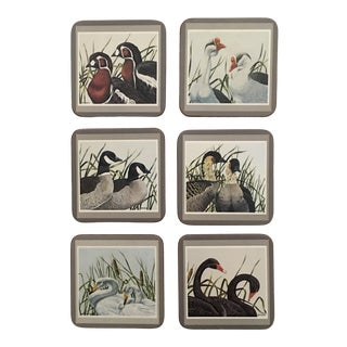 "Traditional ""Marshland Water Fowl"" Coasters by Pimpernel - Set of 6 For Sale"