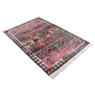 Batik Red Black and White Embroidered Pom Cotton Rug - 4′ × 6′ For Sale
