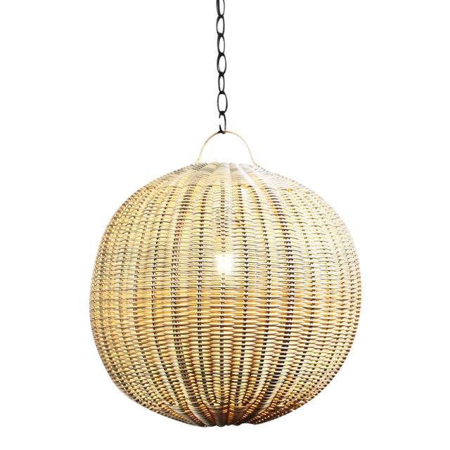 Faux Rattan Globe Lantern 12 For Sale