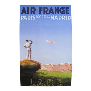 1936 Air France Poster, Paris Bordeaux Madrid Lape For Sale