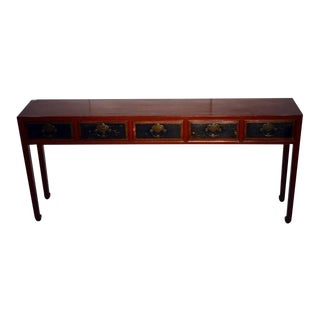 Red Lacquer Console Table with Black Lacquer Drawers from 19th Century, China For Sale