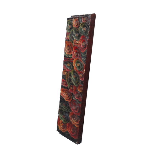 Chinese Painted Multi-Color Wood Carving Panel - Image 3 of 4