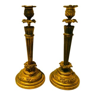 Early 20th Century Floral Traditional Antique Bronze Candlesticks - a Pair For Sale